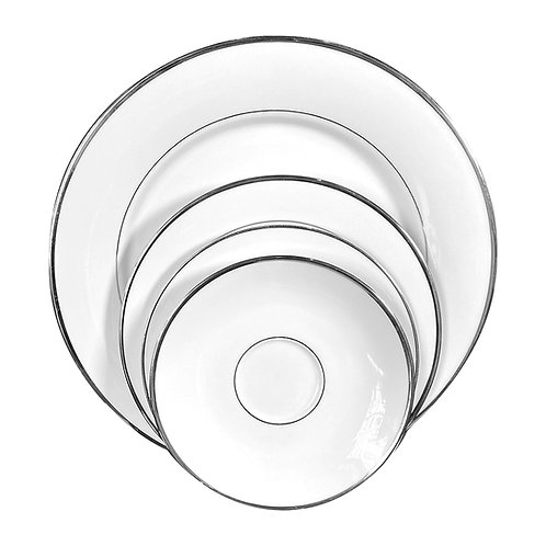 """Silver Banned China 10 1/2"""" Dinner Plates"""