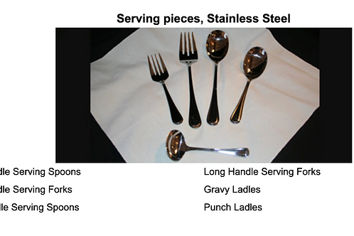Serving pieces, Stainless Steel