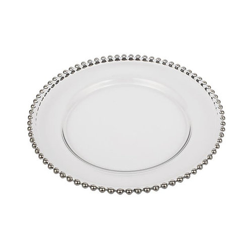 Silver Bead Glass Charger