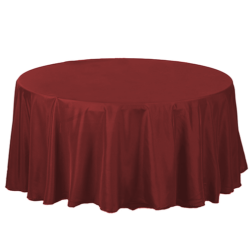 Round Burgundy Table Linens