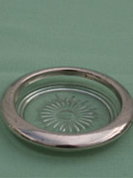 Glass Ash Trays silver rimmed
