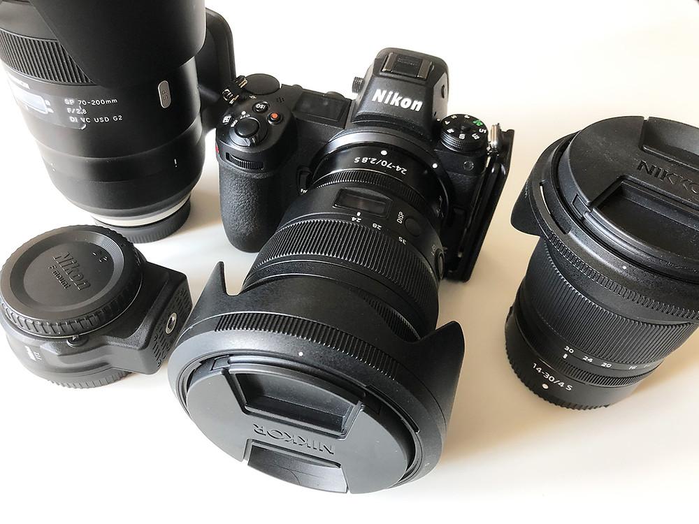 Nikon Z7 mit FTZ Adapter und Nikkor Z 24-70 2.8 / Nikkor Z 14-30 4.0 / Tamron 70-200 2.8