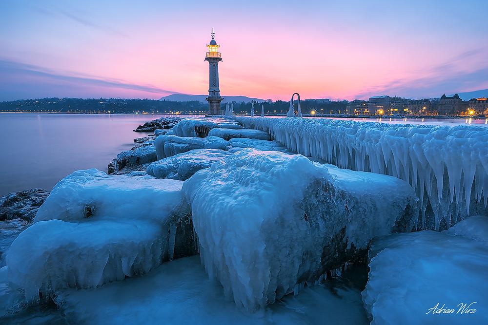 Leuchtturm des Pâquis am Genfersee
