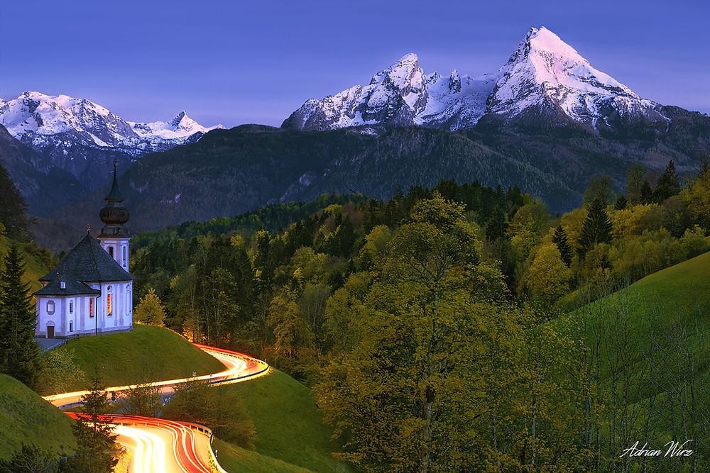 Maria Gern Wallfahrtskirche bei Berchtesgaden mit Watzmann