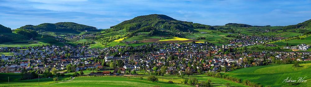 Panorama von Gelterkinden im Kanton Baselland