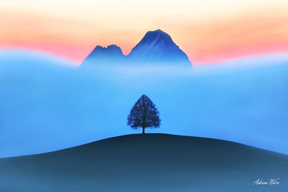 Emmental mit Blick zu den Alpen