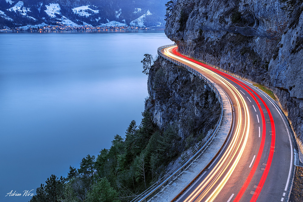 Lighttrails am Thunersee