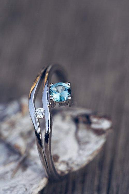 Lio (Aquamarijn, diamant en 18K wit goud)