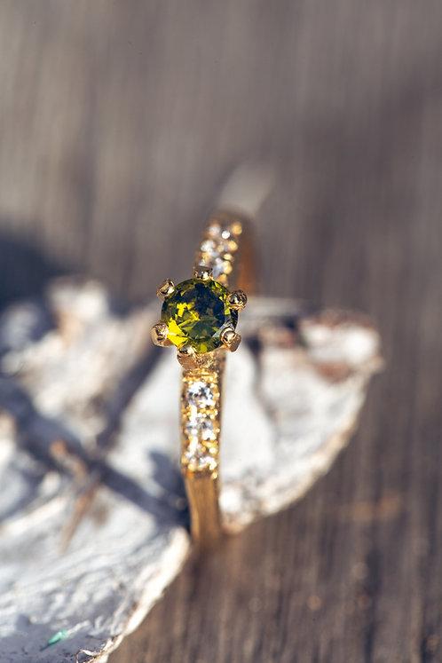 Sofia (Mali Granaat, diamant en 18K geel goud)