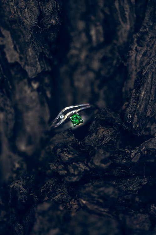 Lio (Smaragd, diamant en 18K wit goud)