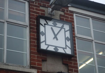 Art Deco clock on school