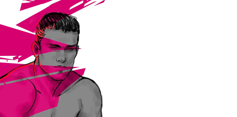 Hot gay man illustration gazing