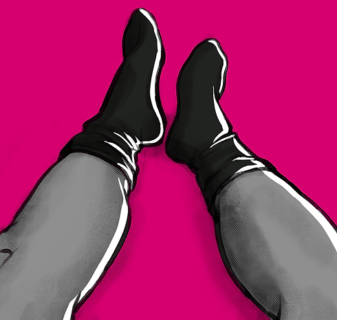 Man illustration in black socks