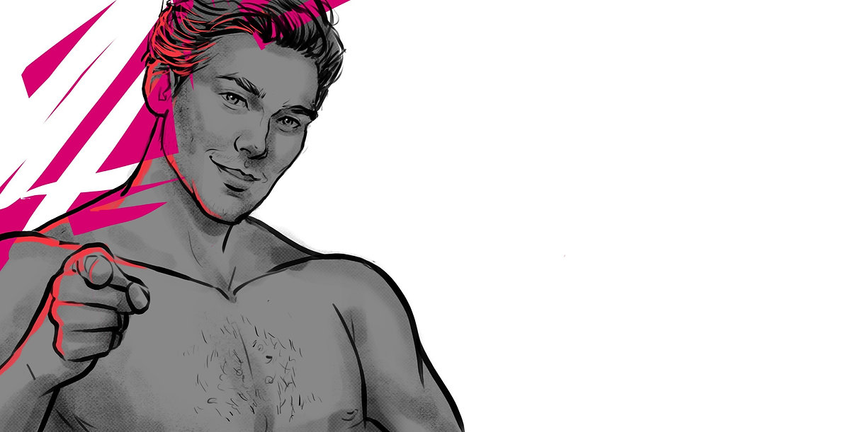 Hot topless man illustration pointing