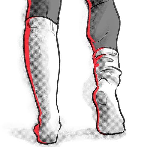 Man illustration inn white socks