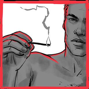 Man illustration holding a match