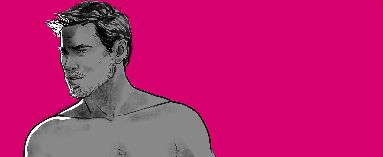 Hot man illustration topless