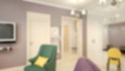 Concept House Концепт хаус. Гостиная выполнена в неоклассическом стиле. Цветовая гамма состоит из темно сиреневых оттенков, темно изумрудных зеленых, желто-горчичных и бежевых кремовых тонов. Пол в прихожей выложен кремовым керамогранитом.  Двери под классику, выполнены из массива, покрыты акриловой эмалью кремового бежевого цвета. Под цвет дверей установлен высокий резной плинтус. Ниши в гостиной декорированы зеркальными вставками. В нише установлен высокий шкаф с белыми глянцевыми фасадами в стиле минимализм. Так же оборудовано небольшое рабочее место в пространстве между стеллажами шкафа. Стены в гостиной декорированы темно сиреневыми обоями с выраженной текстурой или используются эко-обои. В холле освещением служат подвесные люстры хром с тремя белыми плафона в современном стиле. Стены в прихожей декорированы светлыми обоями с геометрическим рисунком. В прихожей оборудована банкетка, открытое место для верхней одежды и навесные полки для головных уборов.