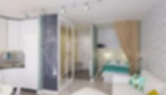 Concept House. Концепт хаус. Квартира однокомнатная 38 м2 в скандинавском стиле с яркими акцентами и мебелью ИКЕА IKEA. Стены декорированы искусственным белым камнем кирпичом; основной цвет стен зеленый зелено-серый. Гостиная объединена с кухней. Выделена спальная зона в нише. Спальная зонируется раздвижной шторой из плотного текстиля кремового цвета. В гостиной располагается большой светлый раздвижной диван и приставная банкетка. Задняя стена спальной зоны декорирована светлыми обоями с геометрическим узором. Так же предусмотрены над кроватью навесные шкафы для хранения. Пол выложен светлой паркетной доской беленый дуб. В небольшой маленькой прихожей размещается обувница, банкетка и вешалки для верхней одежды. Стены прихожей декорированы обоями светлыми с геометрическим рисунком. Пол прихожей выложен серым керамогранитом.