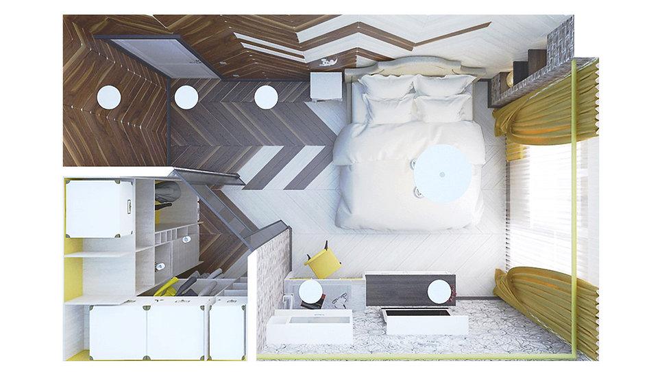 Concept House Концепт хаус. Гостиная объединенная с кухней выполнена в неоклассическом стиле (современная классика). Цветовая гамма состоит из темно сиреневых оттенков, темно изумрудных зеленых, желто-горчичных и бежевых кремовых тонов. Пол гостиной застелен светлой паркетной доской «беленый дуб».  Двери под классику, выполнены из массива, покрыты акриловой эмалью кремового бежевого цвета. Под цвет дверей установлен высокий резной плинтус. Ниши в гостиной декорированы зеркальными вставка с рисунком алмазной гравировкой. Стекла в нишах выполнены в технике – состаренное стекло. Окна декорированы двойными плотными шторами горчичного цвета и зеленого темно изумрудного. Легкий полупрозрачный тюль спасает от попадания прямых солнечных лучей. Диван выбран кремового цвета. Текстиль для кресел с высокими спинками выбран из плотной фактурной ткани темно-сиреневого и темно-изумрудного оттенков. В гостиной установлен фальш камин, облицованный белым мрамором или светлым керамогранитом под мрамор.