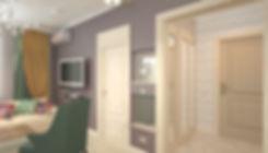 Concept House Концепт хаус. Гостиная и прихожая выполнена в неоклассическом стиле. Цветовая гамма состоит из темно сиреневых оттенков, темно изумрудных зеленых, желто-горчичных и бежевых кремовых тонов. Пол в прихожей выложен кремовым керамогранитом.  Двери под классику, выполнены из массива, покрыты акриловой эмалью кремового бежевого цвета. Под цвет дверей установлен высокий резной плинтус. Ниши в гостиной декорированы зеркальными вставками. Стены в гостиной декорированы темно сиреневыми обоями с выраженной текстурой или используются эко-обои. Стены в прихожей декорированы светлыми обоями с геометрическим рисунком. В прихожей оборудован встроенный трехсекционный высокий шкаф купе. В дверцы шкафа встроены зеркала в полный рост.