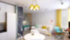 Concept House. Концепт хаус. Квартира однокомнатная 38 м2 в скандинавском стиле с яркими акцентами и мебелью ИКЕА IKEA. Стены декорированы искусственным белым камнем кирпичом; основной цвет стен зленый. Интерьер декорирован шторами и подушками желтого оттенка. В столовой имеется зона, выкрашенная меловым покрытием, для нанесения заметок и надписей.