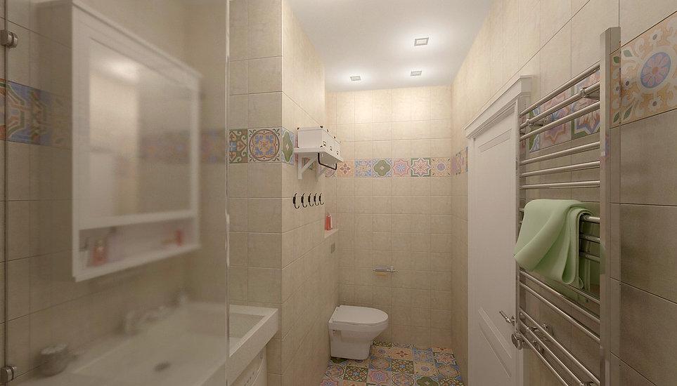Concept House. Концепт хаус. Ванная комната 4,7 м2 в скандинавском стиле. Стены выложены квадратной плиткой 20 на 20 см. Плитка с орнаментом рисунком. В сочетании с фоновой одноцветной плиткой кремового цвета. Пол выложен яркими разноцветными плитками 20 на 20 см. Плитка с орнаментом рисунком. Плитка бежевого цвета матовая. Испанская плитка. MAINZU (Испания). Коллекция CEMENTINE. Раковина выполнена из искусственного камня светлого белового кремового цвета. Машинка стиральная стиралка располагается под раковиной. На ванную установлена стеклянная перегородка. Унитаз подвесной. Предусмотрены полки для хранения. Над раковиной размещен навесной шкафчик для хранения IKEA ИКЕЯ.