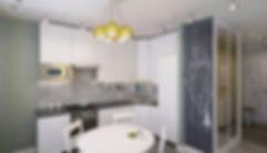 Concept House. Концепт хаус. Квартира однокомнатная 38 м2 в скандинавском стиле с яркими акцентами и мебелью ИКЕА IKEA. Гостиная совмещенная с кухней. Кухонный гарнитур светлый белый с высокими шкафами. Фартук выполнен из серой квадратной плитки с орнаментами. Столешница из темного черного декоративного камня под гранит. Стены выкрашены зелено-серым цветом. Пол в зоне кухни выложен серым керамогранитом. В столовой имеется зона, выкрашенная меловым покрытием, для нанесения заметок и надписей.