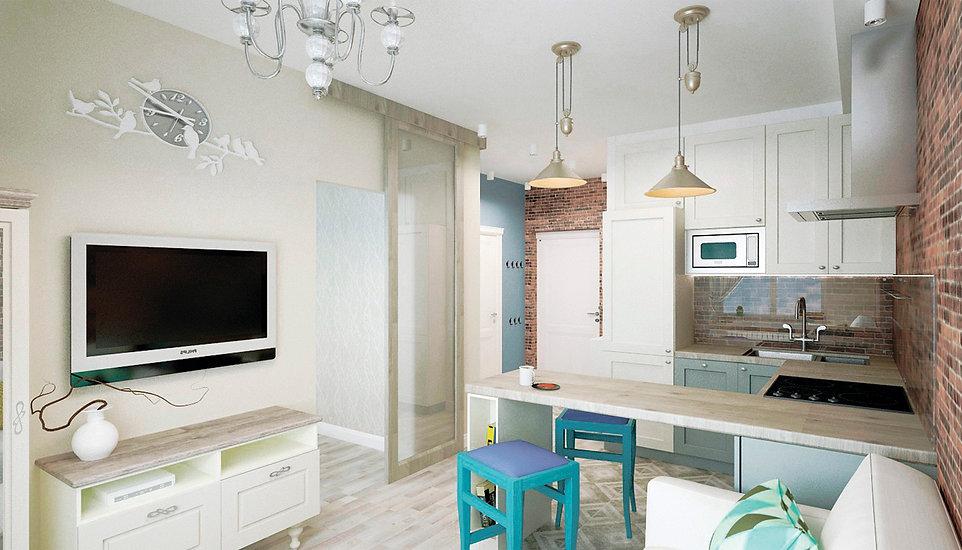 Кухня в неоклассическом стиле. Стены кухни декорированы бежевыми обоями с геометрическим рисунком. Фартук и стена с окном выложены белыми глянцевыми прямоугольными плиточками «кабанчик». Пол кухни выложен керамогранитной плиткой бежевого кремового цвета под мрамор. Фасады кухни комбинированные. Навесные шкафы имеют светлые белые фасады. Низ кухонного гарнитура и шкафы под встроенную технику имеют серо-зеленые фасады. Вытяжка над газовой конфоркой встроена в навесной шкаф. Столешница выполнена из искусственного камня бежевого цвета под природный камень мрамор или гранит. Стиральная машинка встроена в кухонный гарнитур. Духовой шкаф встроен на уровне столешнице. На кухне имеется обеденный стол на 6 персон. Стол и стулья выполнены из тёмного дерева, шоколадного оттенка.  Стулья мягкие классические с полукруглыми спинками, обтянуты изумрудным текстилем. Над обеденной зоной повешена подвесная люстра с одним плафоном. В роли точечного освещения выбраны накладные споты белые цилинрические.