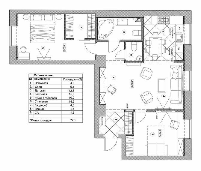 Conctpt Hause Концерт хаус. Перепланировка квартиры 79 м2. В данном проекте мы объединили гостиную с кухней, сделали вход в детскую со стороны гостиной. Объединили холл / коридор с гостиной зоной. В холле создали небольшое рабочее место. В прихожей и детской организовали место под встроенный шкаф для хранения вещей. Объединили ванную комнату и санузел. Выделили гостевой санузел с раковиной. В спальной комнате отзонировали гардеробную комнату. Спрятали коммуникации у окон фальш стеной из гипсокартона, тем самым увеличили ширину подоконников.