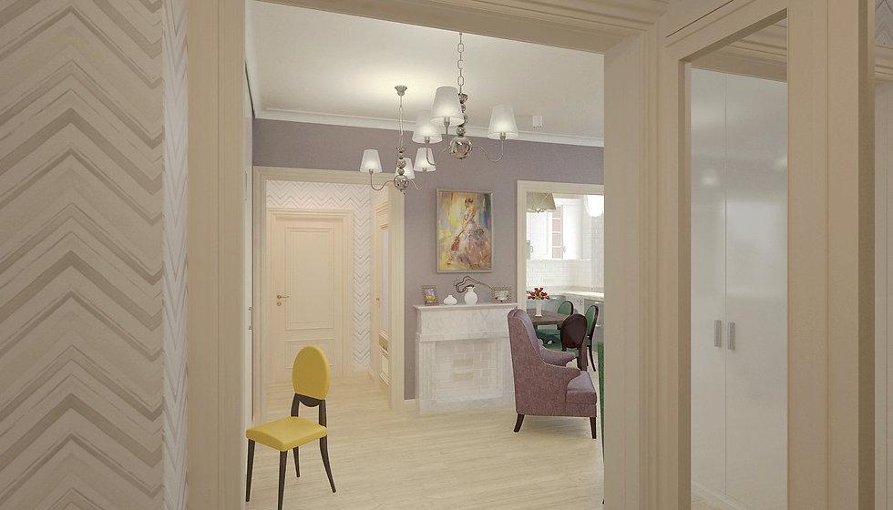 Concept House Концепт хаус. Гостиная, кухня, холл, прихожая выполненные в неоклассическом стиле (современная классика). Кухня, прихожая и холл между ванной и спальней выполнены в светлых тонах, когда стены гостиной более темные. Пол гостиной застелен светлой паркетной доской «беленый дуб».  Двери под классику, выполнены из массива, покрыты акриловой эмалью кремового бежевого цвета. Под цвет дверей установлен высокий резной плинтус. В гостиной установлен фальш камин, облицованный белым мрамором или светлым керамогранитом под мрамор. Задняя стенка камина выложена белой глянцевой плиткой «кабанчик». В холле освещением служат подвесные люстры хром с тремя белыми плафона в современном стиле. Стены прихожей и маленького холла декорированы светлыми обоями с геометрическим рисунком.