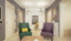 Concept House Концепт хаус. Гостиная объединенная с кухней выполнена в неоклассическом стиле (современная классика). Цветовая гамма состоит из темно сиреневых оттенков, темно изумрудных зеленых, желто-горчичных и бежевых кремовых тонов. Пол гостиной застелен светлой паркетной доской «беленый дуб».  Двери под классику, выполнены из массива, покрыты акриловой эмалью кремового бежевого цвета. Под цвет дверей установлен высокий резной плинтус. Текстиль для кресел с высокими спинками выбран из плотной фактурной ткани темно-сиреневого и темно-изумрудного оттенков. В холле освещением служат подвесные люстры с тремя плафона в современном стиле. В нише установлен высокий шкаф с белыми глянцевыми фасадами в стиле минимализм. Так же оборудовано небольшое рабочее место в пространстве между стеллажами шкафа. Стены в гостиной декорированы темно сиреневыми обоями с выраженной текстурой или используются эко-обои. Стены на кухне и в прихожей декорированы светлыми обоями с геометрическим рисунком.