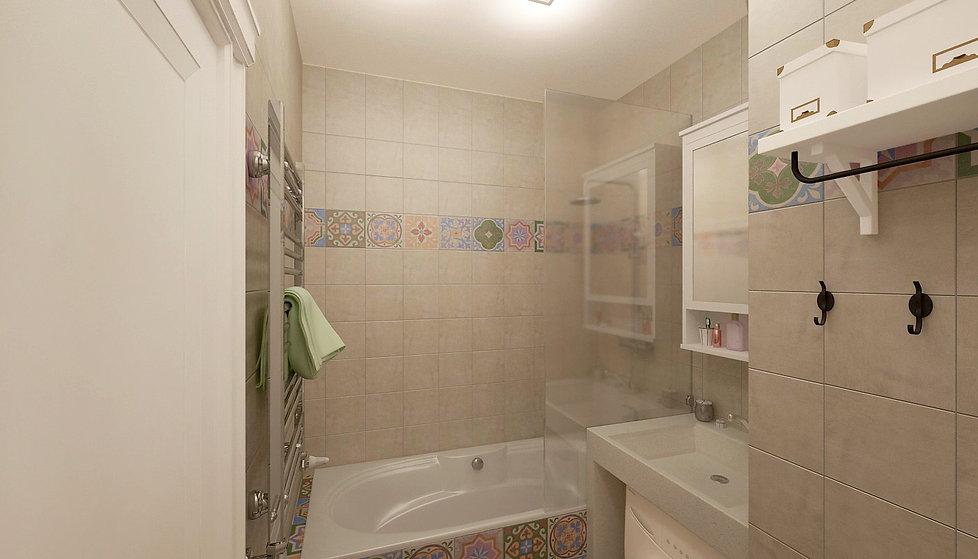 Concept House. Концепт хаус. Ванная комната 4,7 м2 в скандинавском стиле. Стены выложены квадратной плиткой 20 на 20 см. Плитка с орнаментом рисунком. В сочетании с фоновой одноцветной плиткой кремового цвета. Пол выложен яркими разноцветными плитками 20 на 20 см. Плитка с орнаментом рисунком. Плитка бежевого цвета матовая. Испанская плитка. MAINZU (Испания). Коллекция CEMENTINE. Раковина выполнена из искусственного камня светлого белового кремового цвета. Машинка стиральная стиралка располагается под раковиной. На ванную установлена стеклянная перегородка. Предусмотрены полки для хранения. Над раковиной размещен навесной шкафчик для хранения IKEA ИКЕЯ.