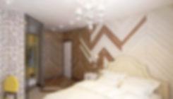 ConceptHaus.Гостиная объединенная с кухней выполнена в неоклассическом стиле (современная классика). Цветовая гамма состоит из темно сиреневых оттенков, темно изумрудных зеленых, желто-горчичных и бежевых кремовых тонов. Пол гостиной застелен светлой паркетной доской «беленый дуб».  Пол на кухне выложен керамогранитом бежевого кремового цвета плитками 60х60 см. Окна гостиной декорированы двойными плотными шторами горчичного цвета и зеленого темно изумрудного. Легкий полупрозрачный тюль спасает от попадания прямых солнечных лучей. Диван выбран кремового цвета. Текстиль для кресел с высокими спинками выбран из плотной фактурной ткани темно-сиреневого и темно-изумрудного оттенков. В гостиной установлен фальш камин, облицованный светлым керамогранитом под мрамор. Задняя стенка камина выложена белой глянцевой плиткой «кабанчик». В зоне гостиной над журнальным столиком повешена большая люстра в современном стиле. В роли точечного освещения выбраны накладные споты белого цилиндрического вида.