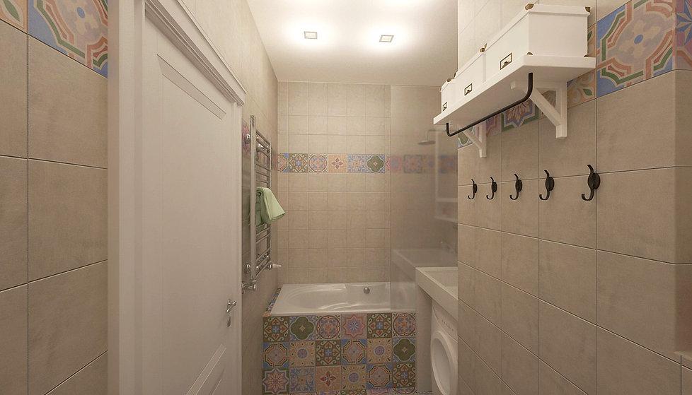 Concept House. Концепт хаус. Ванная комната 4,7 м2 в скандинавском стиле. Стены выложены квадратной плиткой 20 на 20 см. Плитка с орнаментом рисунком. В сочетании с фоновой одноцветной плиткой кремового цвета. Пол выложен яркими разноцветными плитками 20 на 20 см. Плитка с орнаментом рисунком. Плитка бежевого цвета матовая. Испанская плитка. MAINZU (Испания). Коллекция CEMENTINE. Раковина выполнена из искусственного камня светлого белового кремового цвета. Машинка стиральная стиралка располагается под раковиной. На ванную установлена стеклянная перегородка. Предусмотрены полки для хранения ИКЕЯ IKEA.