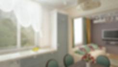 Concept House Концепт хаус. Кухня в неоклассическом стиле в светлых тонах. Стены кухни декорированы бежевыми обоями с геометрическим рисунком. Фартук и стена с окном выложены белыми глянцевыми прямоугольными плиточками «кабанчик». Фасады кухни комбинированные. Низ кухонного гарнитура и шкафы под встроенную технику имеют серо-зеленые фасады. Столешница выполнена из искусственного камня бежевого цвета под природный камень мрамор или гранит. Раковина расположена у окна. Стиральная машинка встроена в кухонный гарнитур, закрывается стеклянной дверкой. Холодильник встроенный. На кухне имеется обеденный стол на 6 персон. Над обеденной зоной повешена подвесная люстра с одним плафоном. В роли точечного освещения выбраны накладные споты белого цилиндрического вида. Окно декорировано светлым белым тюлем со сборкой.