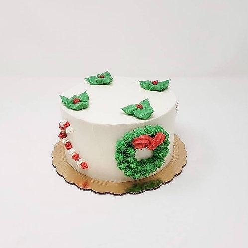 Holiday Theme Cake-Mistletoes design