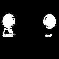 対面で話し合う人
