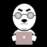 パソコンに向かう眼鏡の人