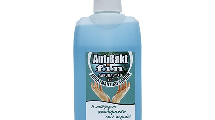 Antibakt Fin Αλκοολούχο 75ο Απολυμαντικό Χεριών 500ml