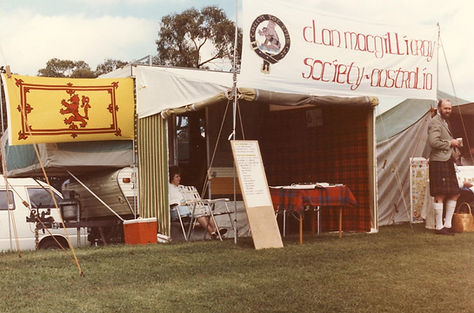 First Clan MacGillivray tent, Ringwood Highland Games, 1984.