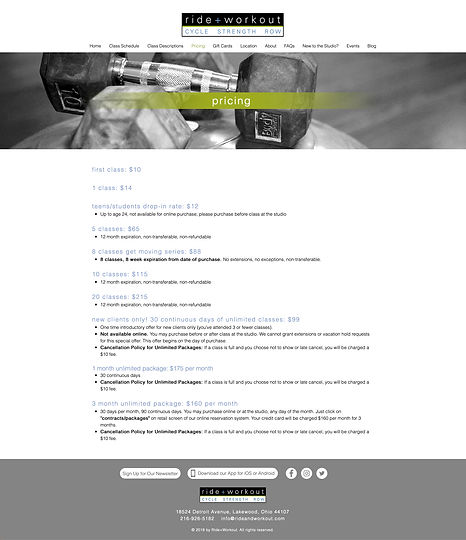 Ride + Workout pricing page design