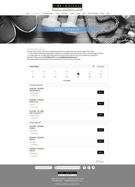 Ride + Workout class schedule design