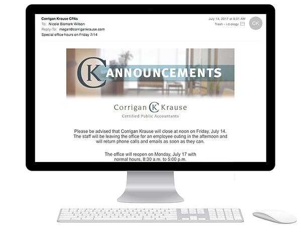 Corrigan Krause email announcement design
