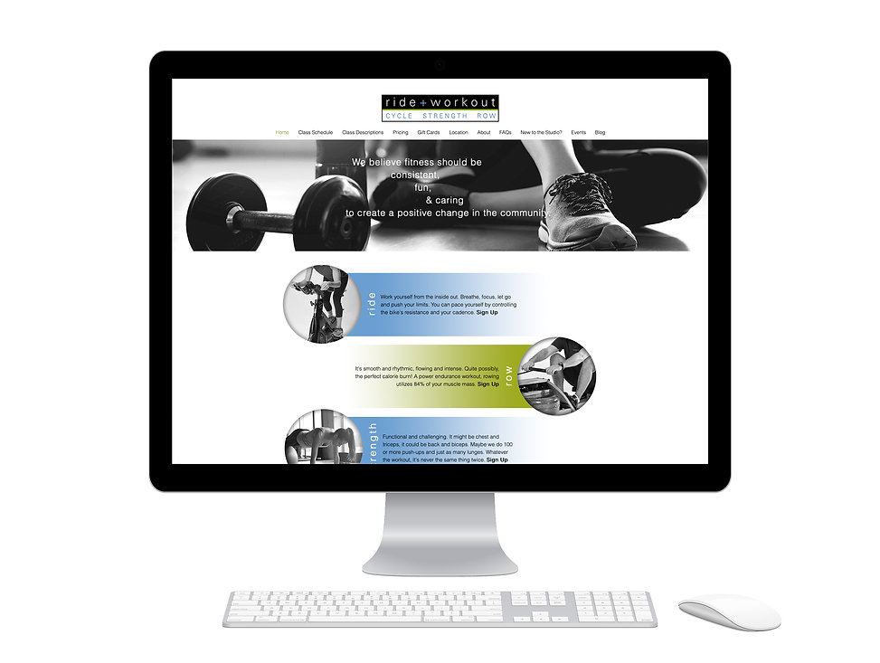Ride + Workout website design