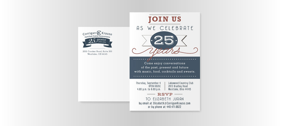 Corrigan Krause 25th anniversary party invitation design
