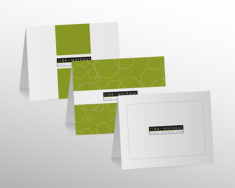 Ride + Workout business note card design