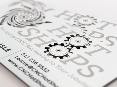 Hot Shops metal business card design