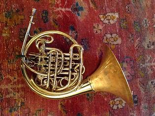 Karl Kramer triple horn by Engelbert Schmid, mouthpiece by Gebr. Alexander
