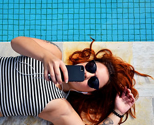 Girl Laying by Pool